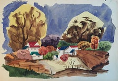 """Mid Century California Landscape Painting """"Colored Roofs"""" Gouache on Paper"""