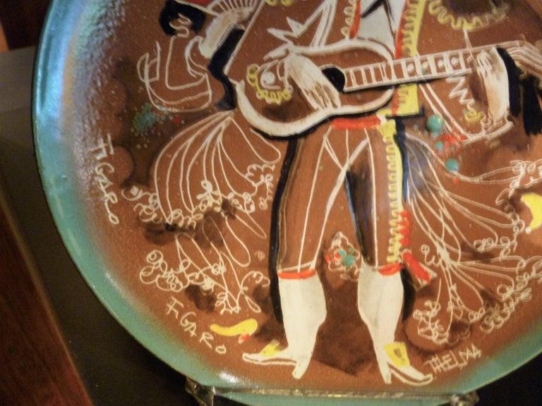 Mid-Century Modern Thelma Winter Copper Enamel Celebration Plate 1966 Figaro Met Opera House NYC For Sale