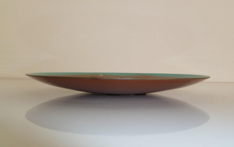 American Thelma Winter Copper Enamel Celebration Plate 1966 Figaro Met Opera House NYC For Sale
