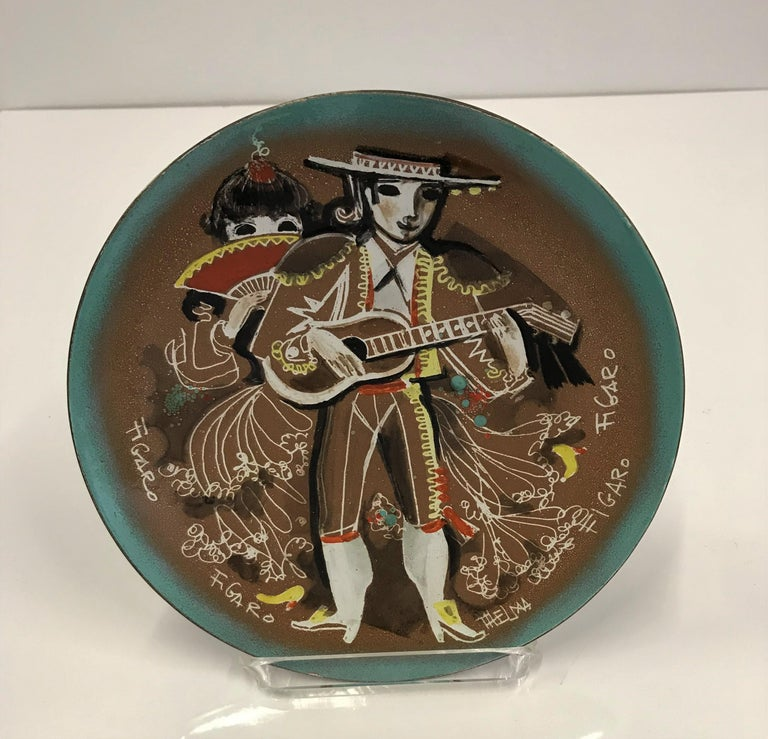 Thelma Winter Copper Enamel Celebration Plate 1966 Figaro Met Opera House NYC For Sale 1
