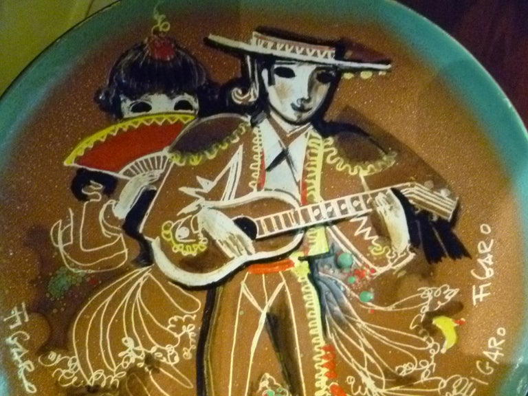 Thelma Winter Mid-Century Modern Copper Enamel Plate of Figaro Met Opera, NYC In Good Condition For Sale In Miami, FL