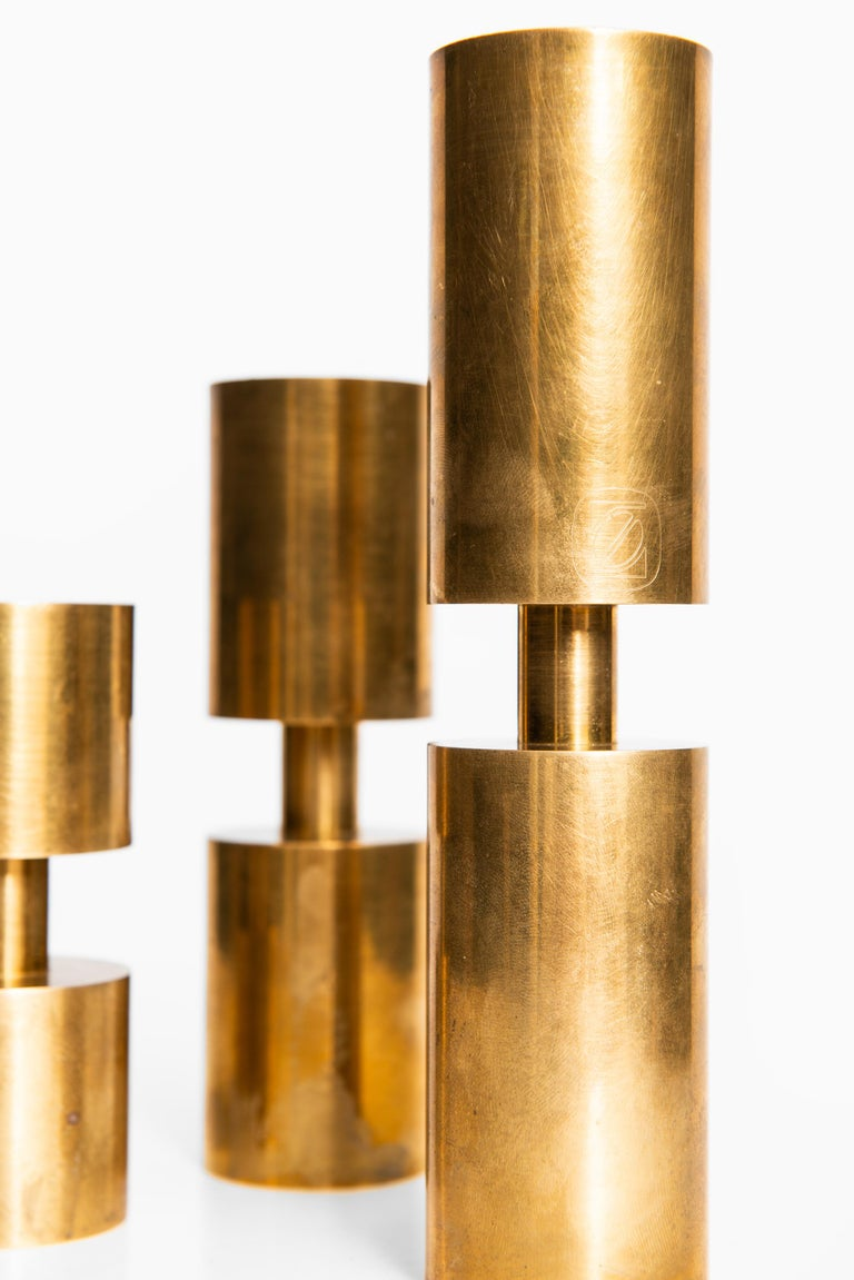 Set of 3 candlesticks designed by Thelma Zoéga. Produced in Sweden.