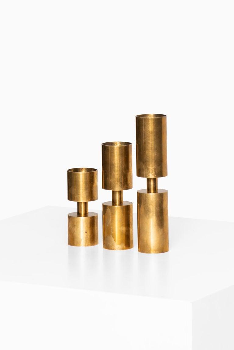 Scandinavian Modern Thelma Zoéga Candlesticks in Brass Produced in Sweden For Sale
