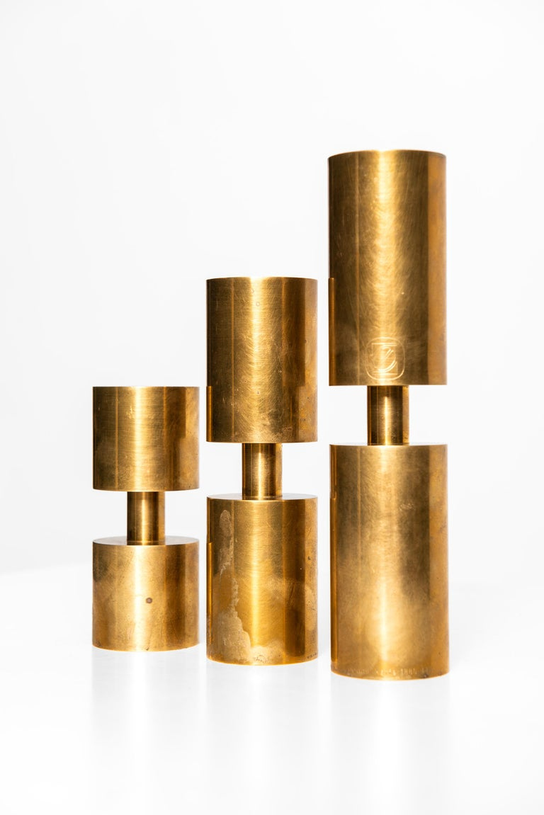 Swedish Thelma Zoéga Candlesticks in Brass Produced in Sweden For Sale