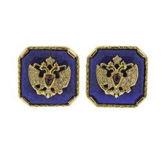 Theo Faberge Romanov Lapis Ruby Diamond Gold Cufflinks