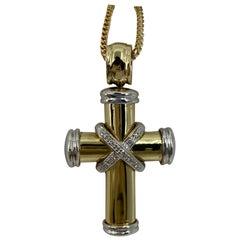Theo Fennel 18 Karat Yellow & White Gold Diamond Cross Pendant Necklace British