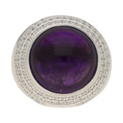 Theo Fennell Amethyst and Diamond Cocktail Dress Ring Set in 18 Karat White Gold