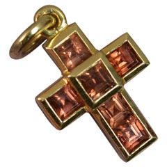 Theo Fennell 18 Carat Gold and Garnet Cross Charm Pendant