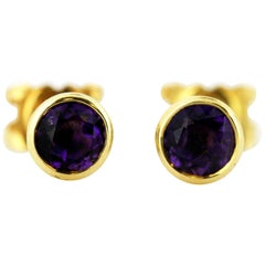 Theo Fennell 18 Karat Yellow Gold Stud Earrings with Natural Amethyst Stones
