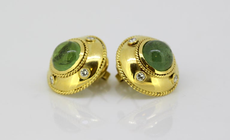 Theo Fennell, 18 Karat Gold Stud Earrings with Tourmaline and Diamonds, 1970s In Excellent Condition For Sale In Braintree, GB