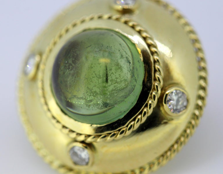 Women's Theo Fennell, 18 Karat Gold Stud Earrings with Tourmaline and Diamonds, 1970s For Sale