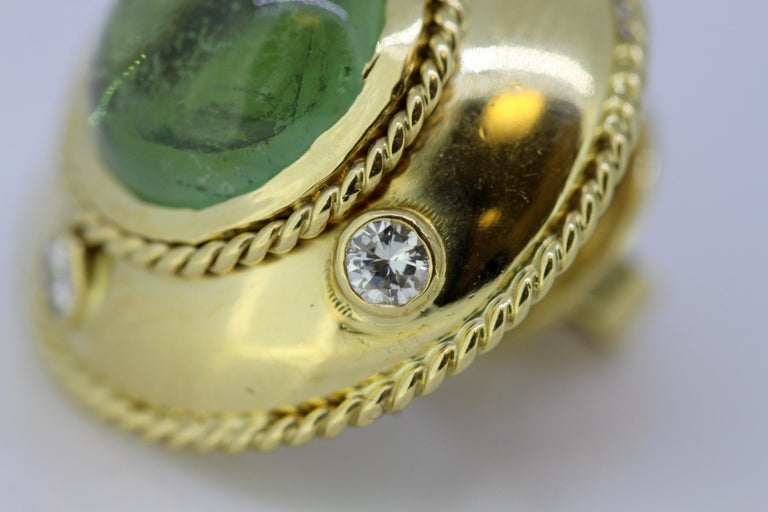 Theo Fennell, 18 Karat Gold Stud Earrings with Tourmaline and Diamonds, 1970s For Sale 1