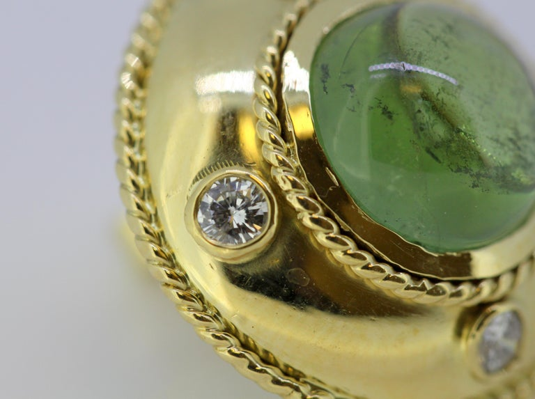 Theo Fennell, 18 Karat Gold Stud Earrings with Tourmaline and Diamonds, 1970s For Sale 2