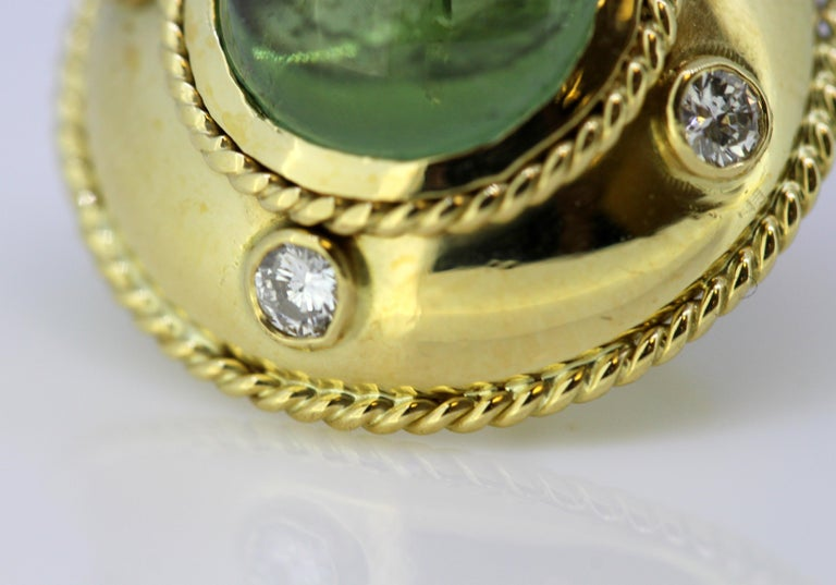 Theo Fennell, 18 Karat Gold Stud Earrings with Tourmaline and Diamonds, 1970s For Sale 3
