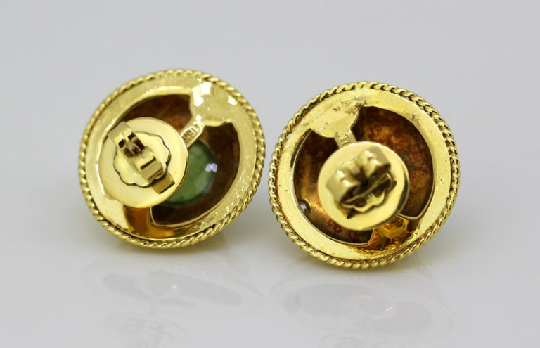 Theo Fennell, 18 Karat Gold Stud Earrings with Tourmaline and Diamonds, 1970s For Sale 4