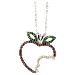 Theo Fennell 'Bitten Apple' Diamonds, Rubies Tsavorite Garnets Pendant Necklace