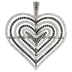 Theo Fennell Black and White Diamond Heart Pendant 2.62 Carat