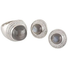 Theo Fennell Diamond and Quartz Ring and Earrings Suite