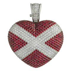 Theo Fennell Diamond and Ruby Heart Pendant 3.64 Carat Diamonds 6.55 Ct Rubies