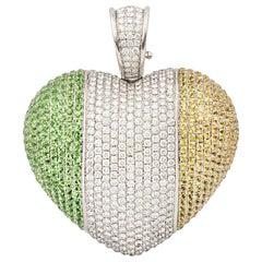 Theo Fennell Diamond, Sapphire and Tsavorite Irish Flag Heart Pendant