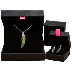 Theo Fennell Diamond Tsavorite Garnet Horn Pendant Earrings Necklace
