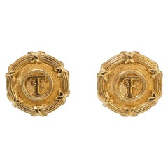 Theo Fennell Gold Millenium Monogram Disc Earrings 200