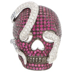 Theo Fennell Ruby and Diamond Skull and Snake Rhodium Ring in 18 Karat Gold