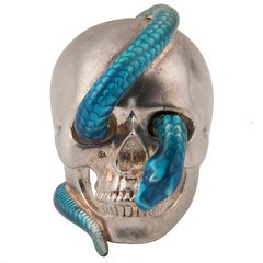 Theo Fennell Silver and Blue Enamel Skull Ring