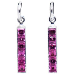 Theo Fennell Tourmaline Strip 18 Carat White Gold Drop Earrings