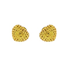 Theo Fennell Yellow Sapphire Pave Heart Yellow Gold Earrings