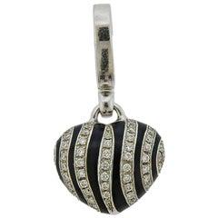 Theo Fennell Zebra Diamond Enamel Gold Heart Pendant