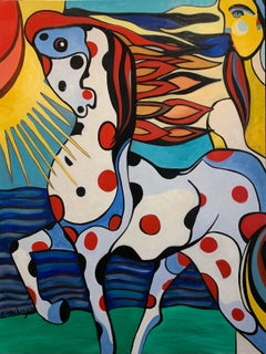 Ardiente Colourful Horse Oil Painting Figurative Animal Sun Human Dots In Stock