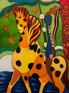Trust Colourful Painting Horse Woman Yellow Orange Happy Oil Painting In Stock