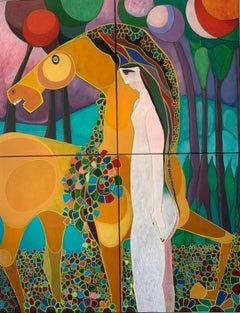 Wonderland Colourful Oil Painting Horse Female Figure Abstract Flowers  In Stock