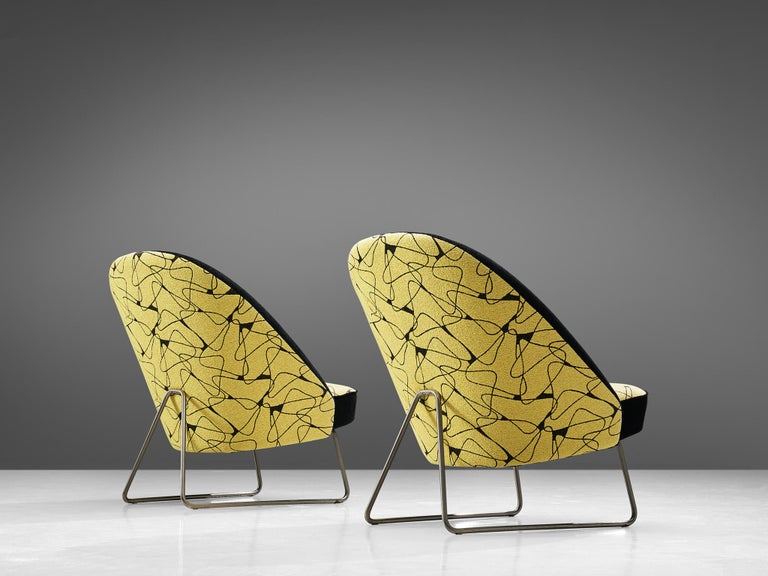 Mid-Century Modern Theo Ruth Easy Chairs in Yellow and Black Upholstery For Sale