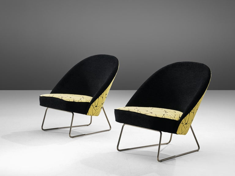 Dutch Theo Ruth Easy Chairs in Yellow and Black Upholstery For Sale