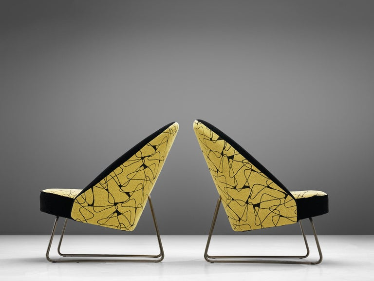 Theo Ruth Easy Chairs in Yellow and Black Upholstery In Good Condition For Sale In Waalwijk, NL