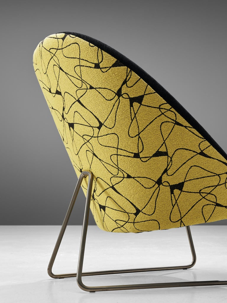 Mid-20th Century Theo Ruth Easy Chairs in Yellow and Black Upholstery For Sale