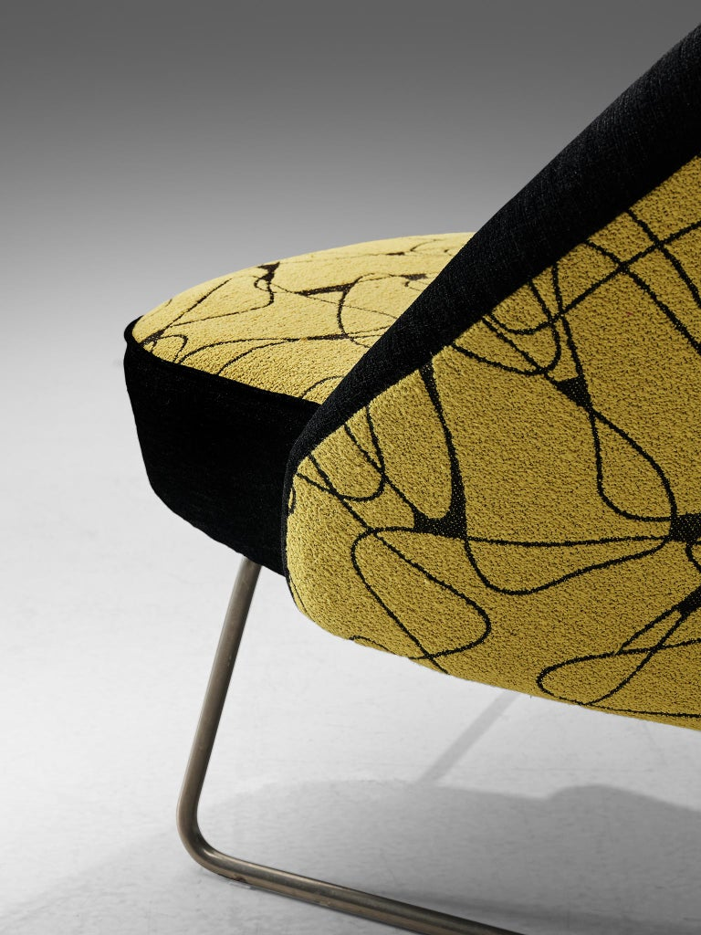 Metal Theo Ruth Easy Chairs in Yellow and Black Upholstery For Sale