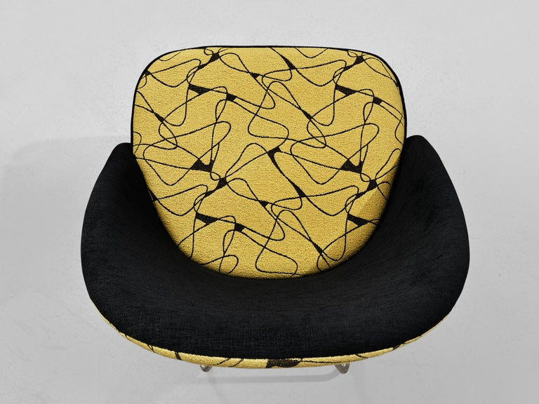 Theo Ruth Easy Chairs in Yellow and Black Upholstery For Sale 1