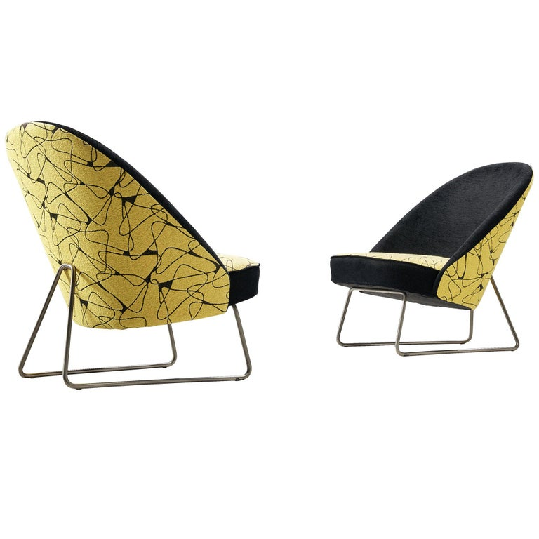 Theo Ruth Easy Chairs in Yellow and Black Upholstery For Sale