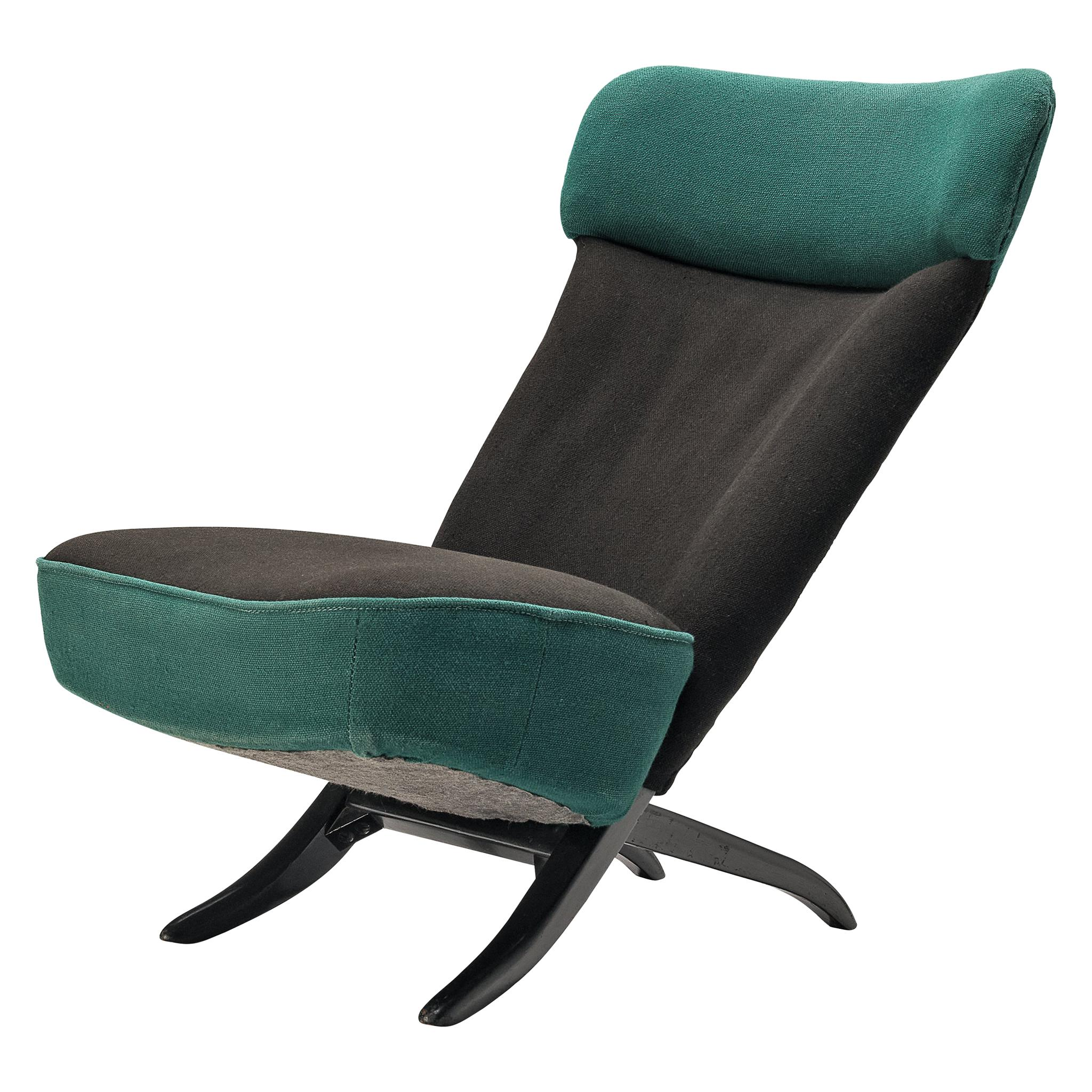 Theo Ruth for Artifort 'Congo' Easy Chair in Green and Black Fabric