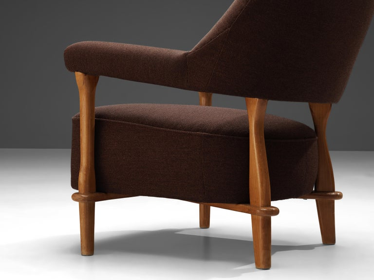 Mid-Century Modern Theo Ruth for Artifort Lounge Chair 109 in Oak and Brown Fabric