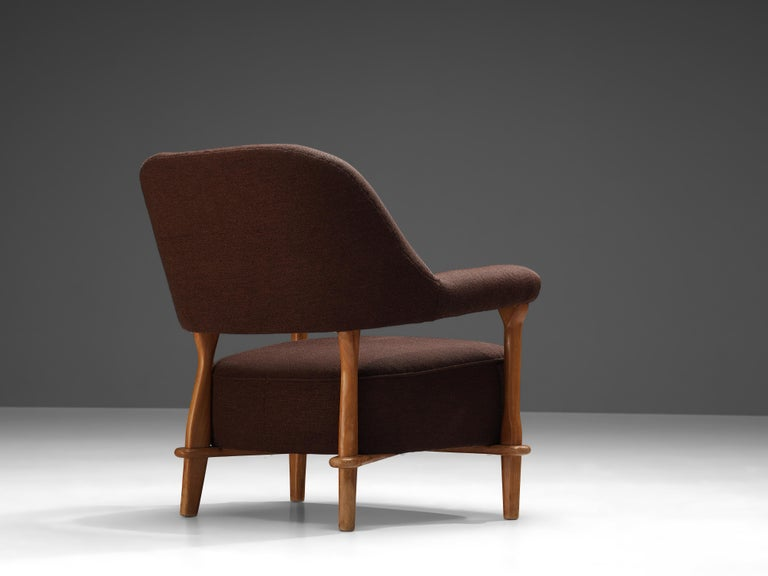 Dutch Theo Ruth for Artifort Lounge Chair 109 in Oak and Brown Fabric
