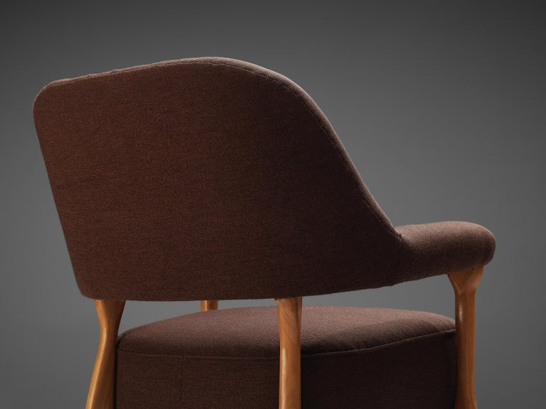 Mid-20th Century Theo Ruth for Artifort Lounge Chair 109 in Oak and Brown Fabric