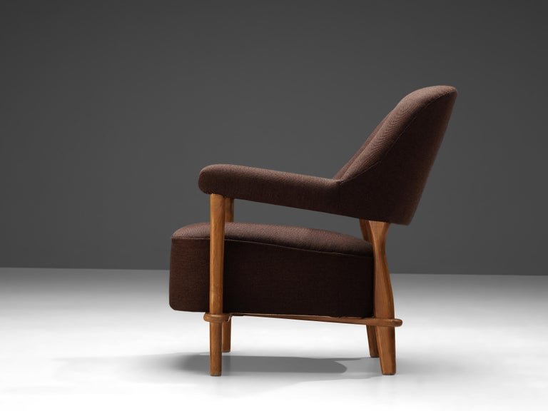 Theo Ruth for Artifort Lounge Chair 109 in Oak and Brown Fabric 1