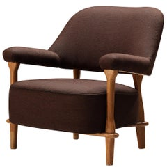Theo Ruth for Artifort Lounge Chair 109 in Oak and Brown Fabric