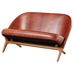 Theo Ruth Leather Upholstered Settee