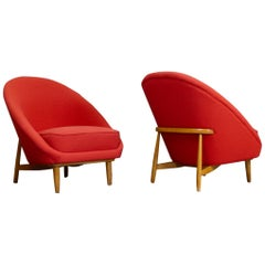 Theo Ruth Pair of Club Chairs in Red for Artifort, The Netherlands 1958
