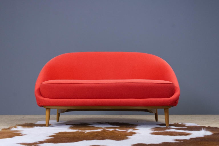 Mid-Century Modern Theo Ruth Sofa or Love Seat in Red for Artifort, Model 115, 1970s For Sale